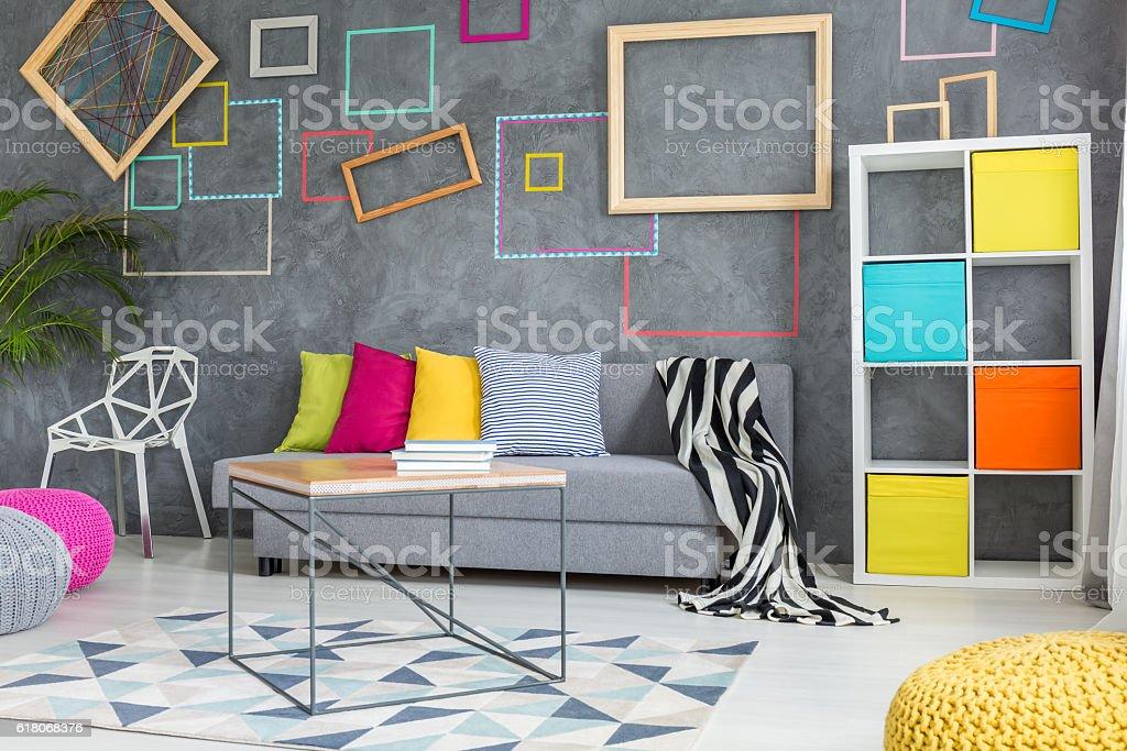 Grey room with decorative squares stock photo