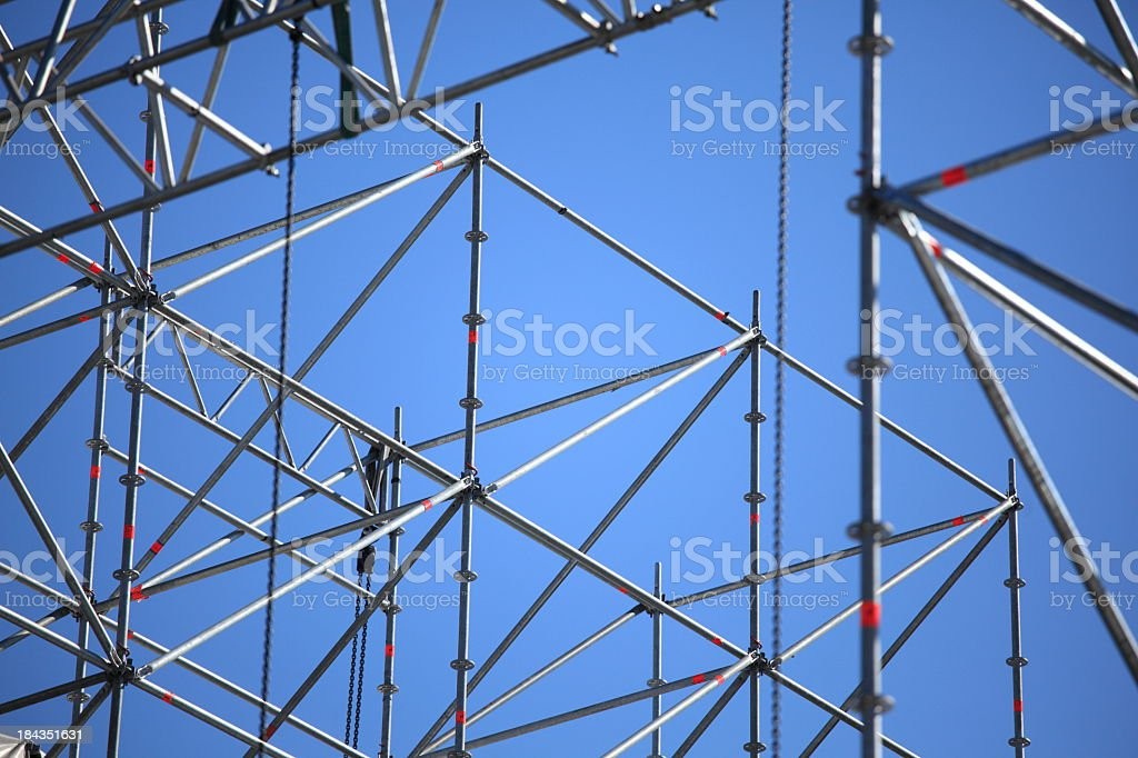 Grey scaffolding waiting for concert lighting to be added stock photo