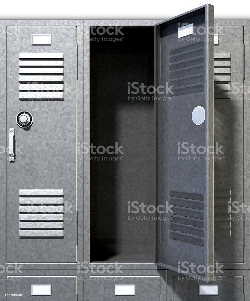 Grey School Lockers Perspective stock photo