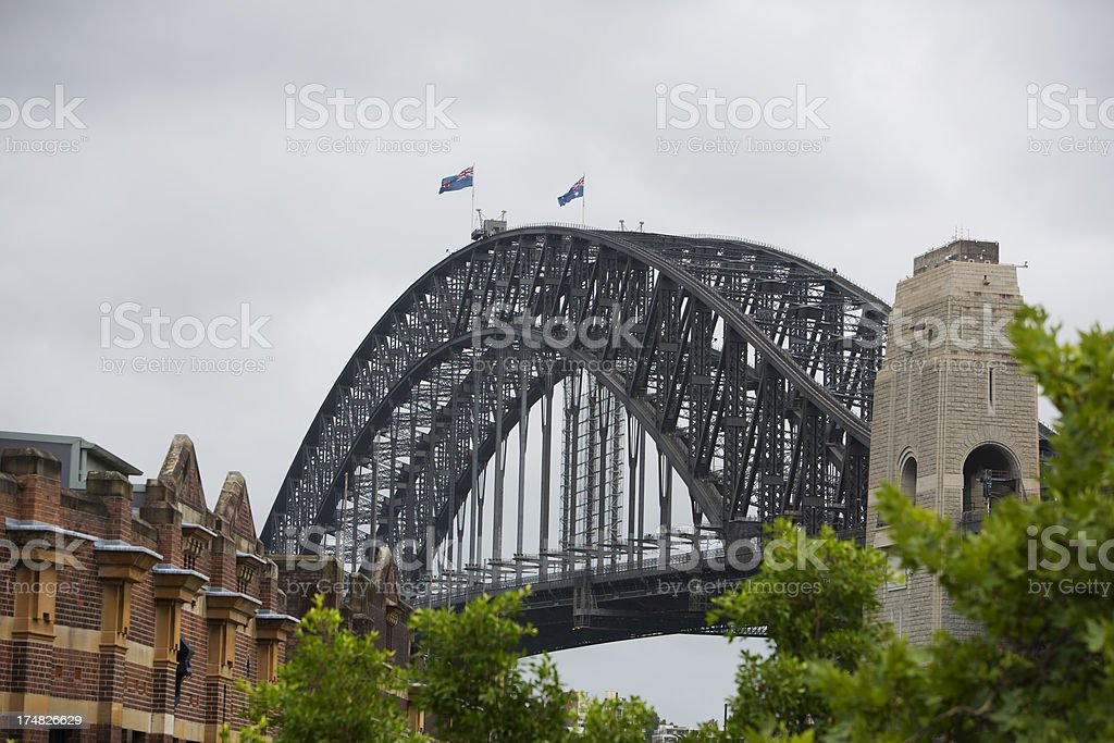 Grey Skies over Sydney Harbour Bridge royalty-free stock photo