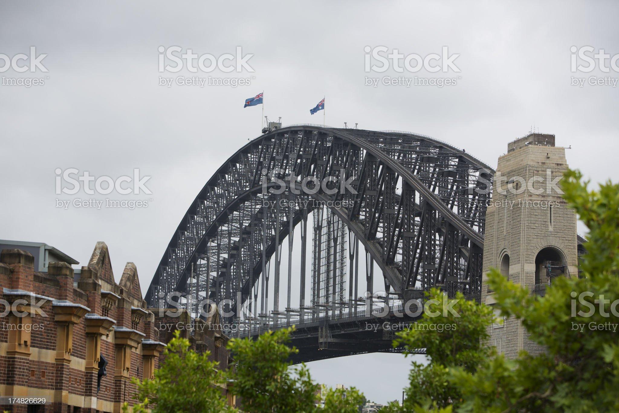 Grey Skies over Sydney Harbour Bridge royalty-free stock photo