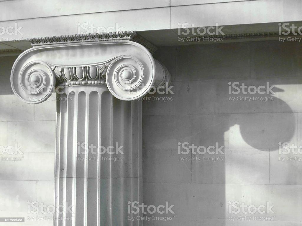 Grey slate column details on building stock photo