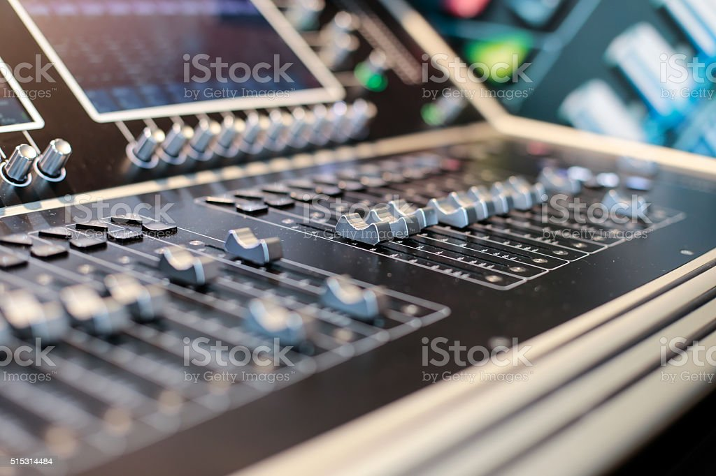 Grey sliders of the Hi-end stage controller stock photo