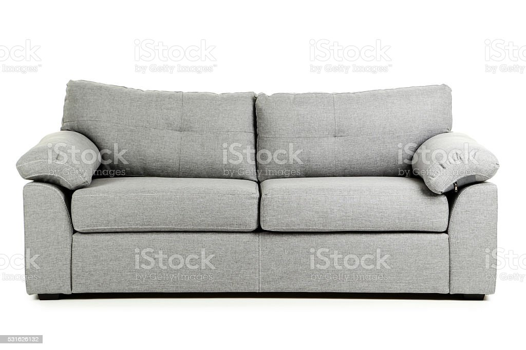 Grey sofa isolated on a white background stock photo