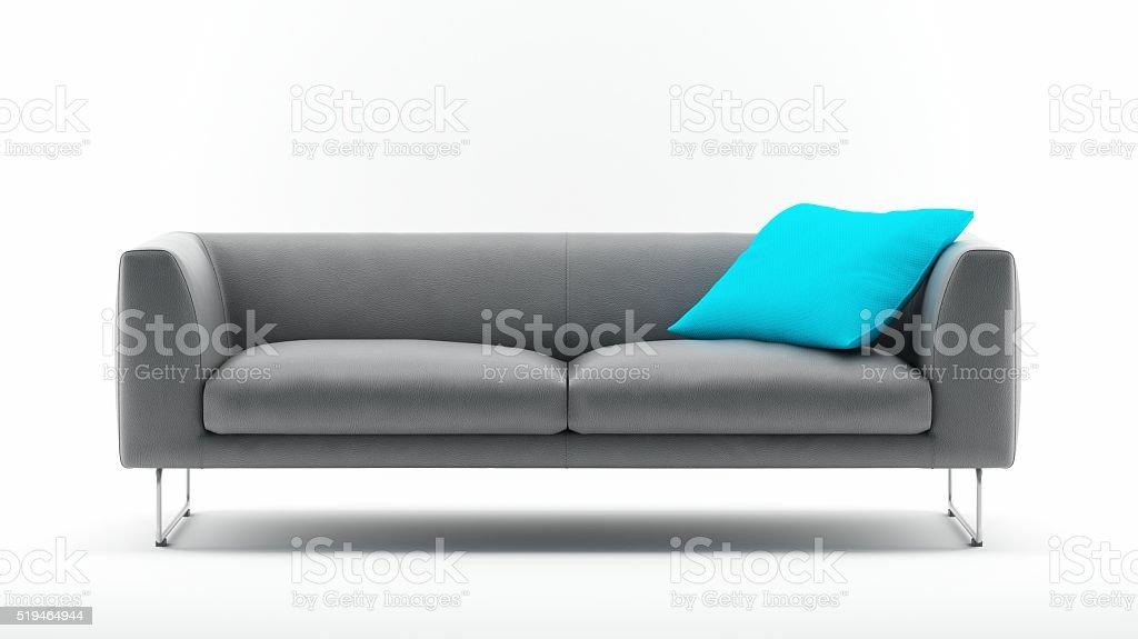 Grey Sofa with Pillow stock photo