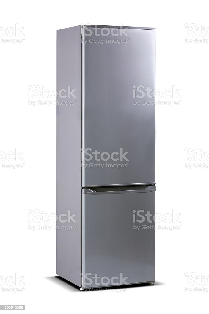 Grey steel refrigerator isolated on white stock photo