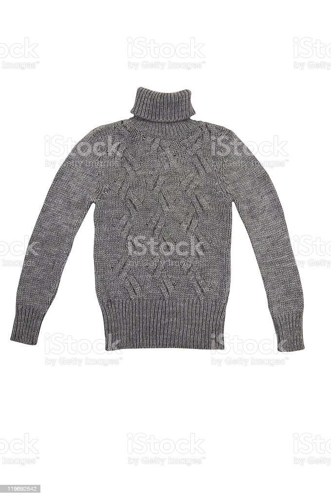 Grey  sweater on a white. stock photo