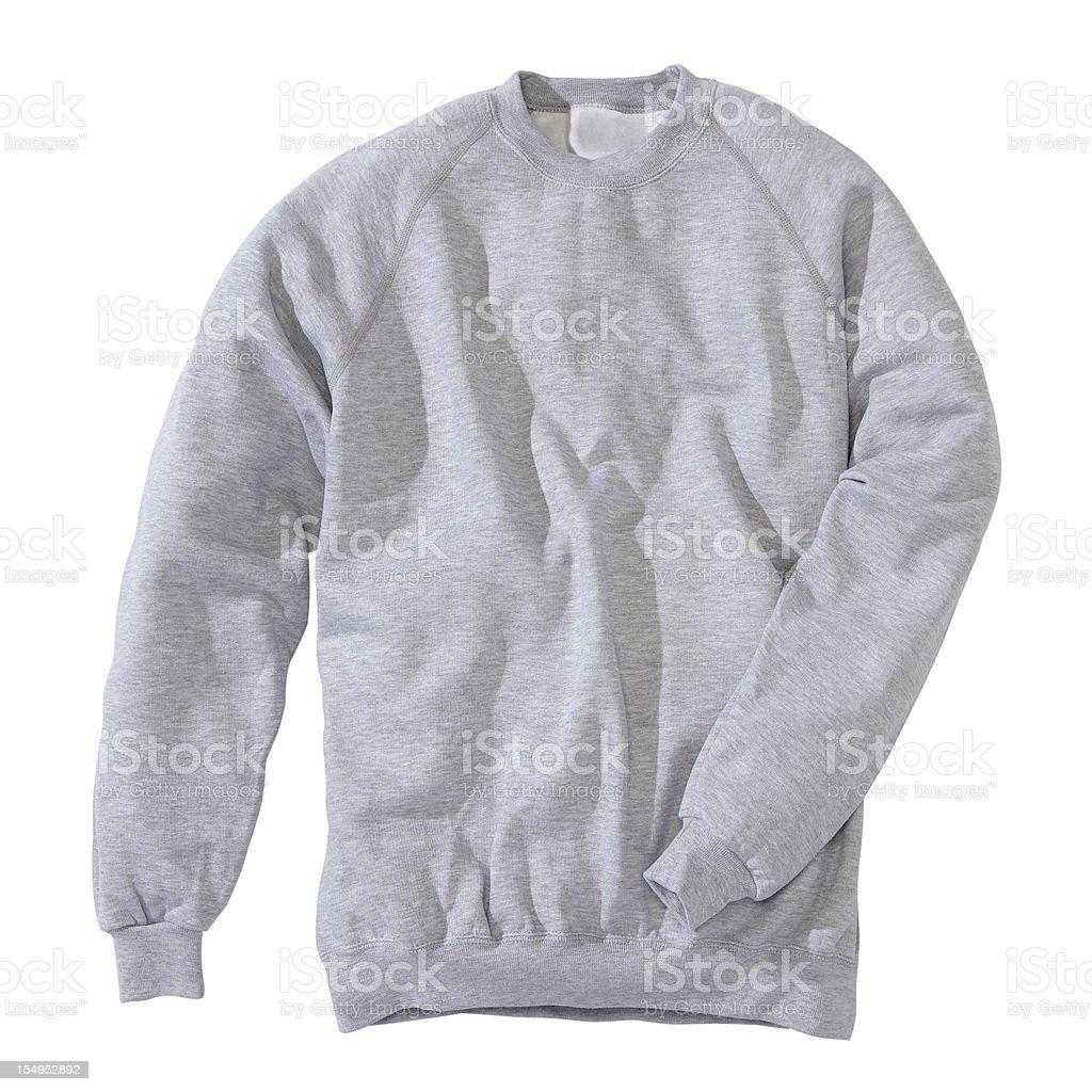 Grey sweatshirt on white background stock photo