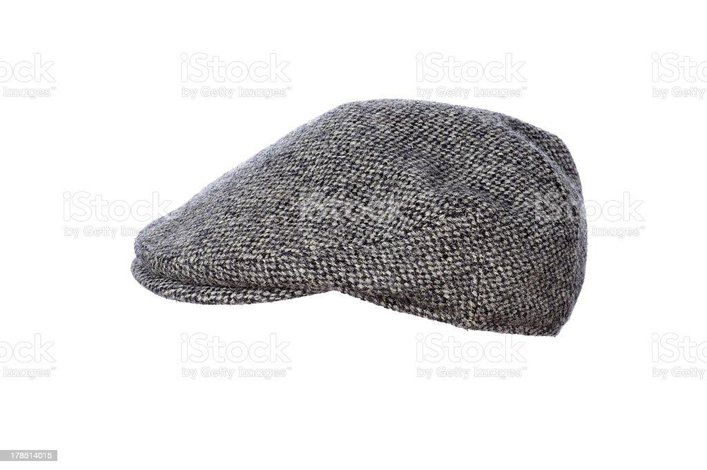 grey tweed flat cap isolated stock photo