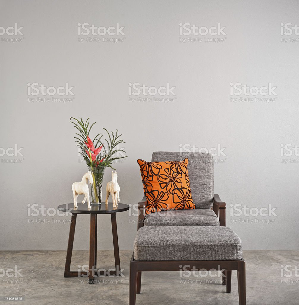Grey upholstered chair stock photo
