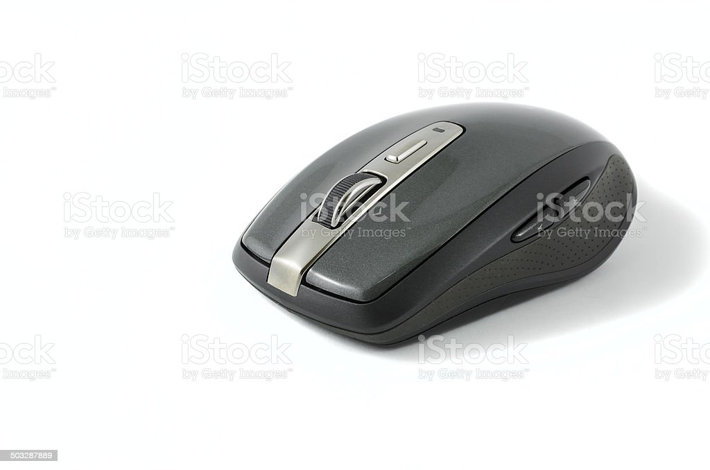 Grey wireless mouse on isolated background stock photo