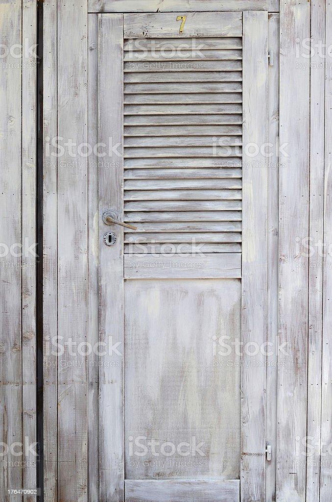 Grey, wooden door stock photo