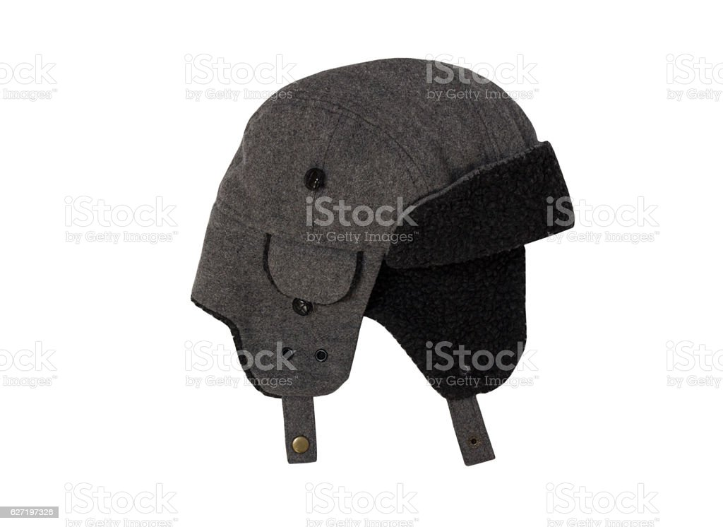 Grey wool hat isolated. stock photo