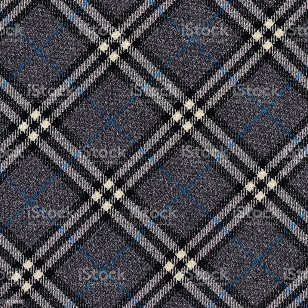 grey wool plaid with blue stripe royalty-free stock photo