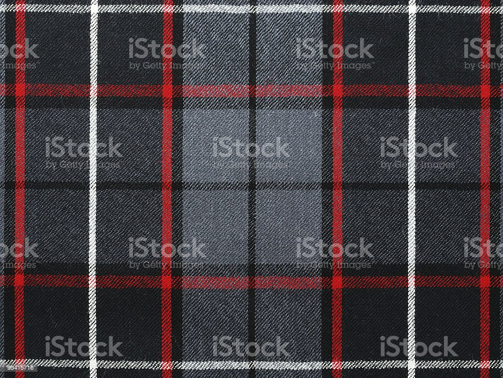 Grey wool plaid/tartan with stripe stock photo