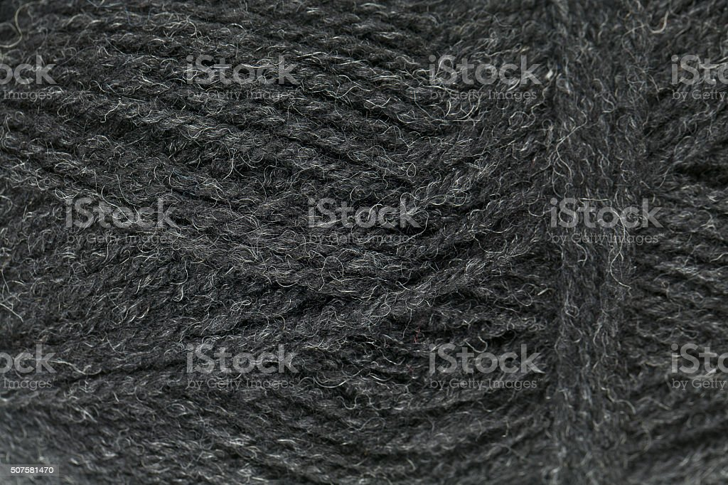 grey yarn close up stock photo
