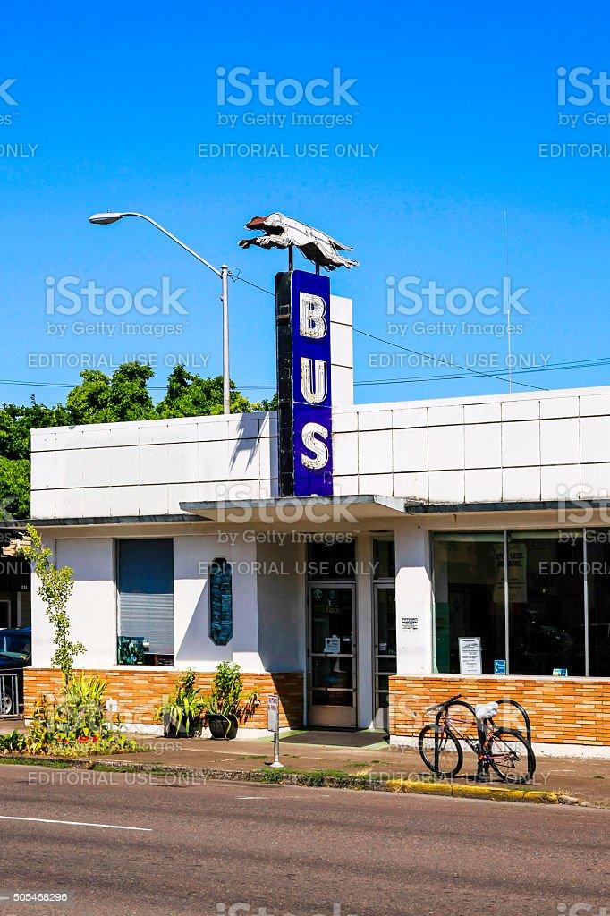 Greyhound bus station in Corvalis, Oregon stock photo