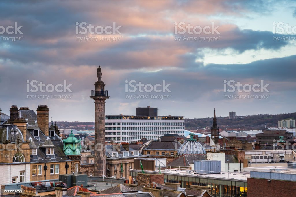 Grey's Monument in Newcastle Skyline stock photo