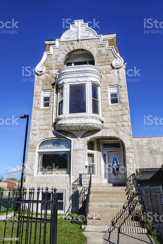 Greystone mansion in Kenwood, Chicago royalty-free stock photo
