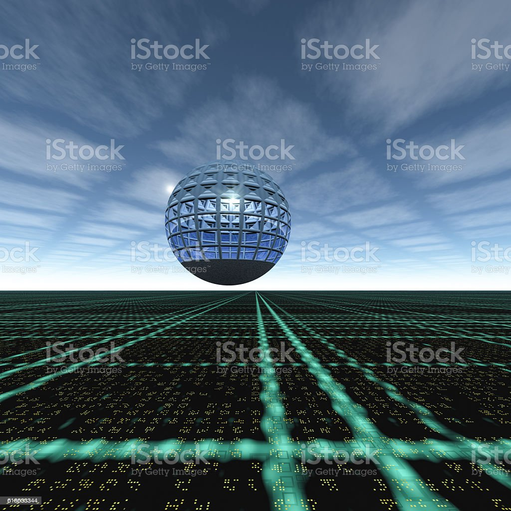 Grid Cloud Horizon Glass Sphere stock photo