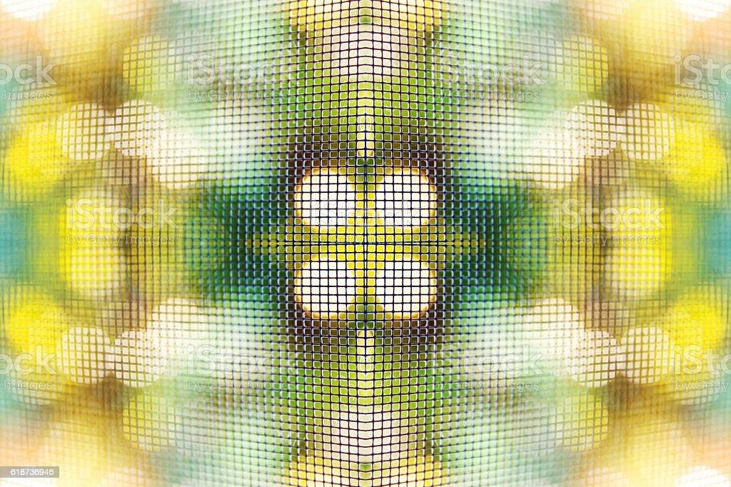 Grid macro pattern background surreal shaped symmetrical kaleidoscope with bokeh stock photo