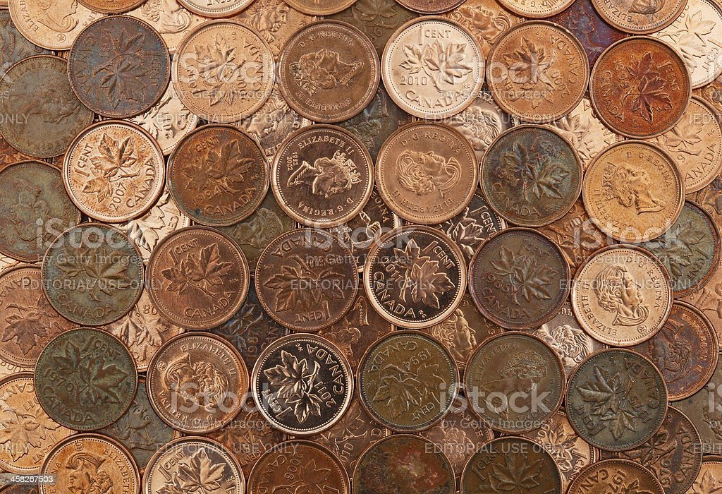 Grid Of Canadian Pennies royalty-free stock photo