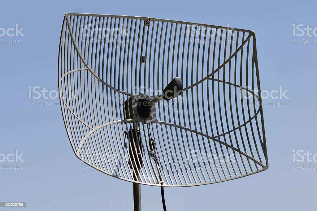 Grid Parabolic Antenna stock photo