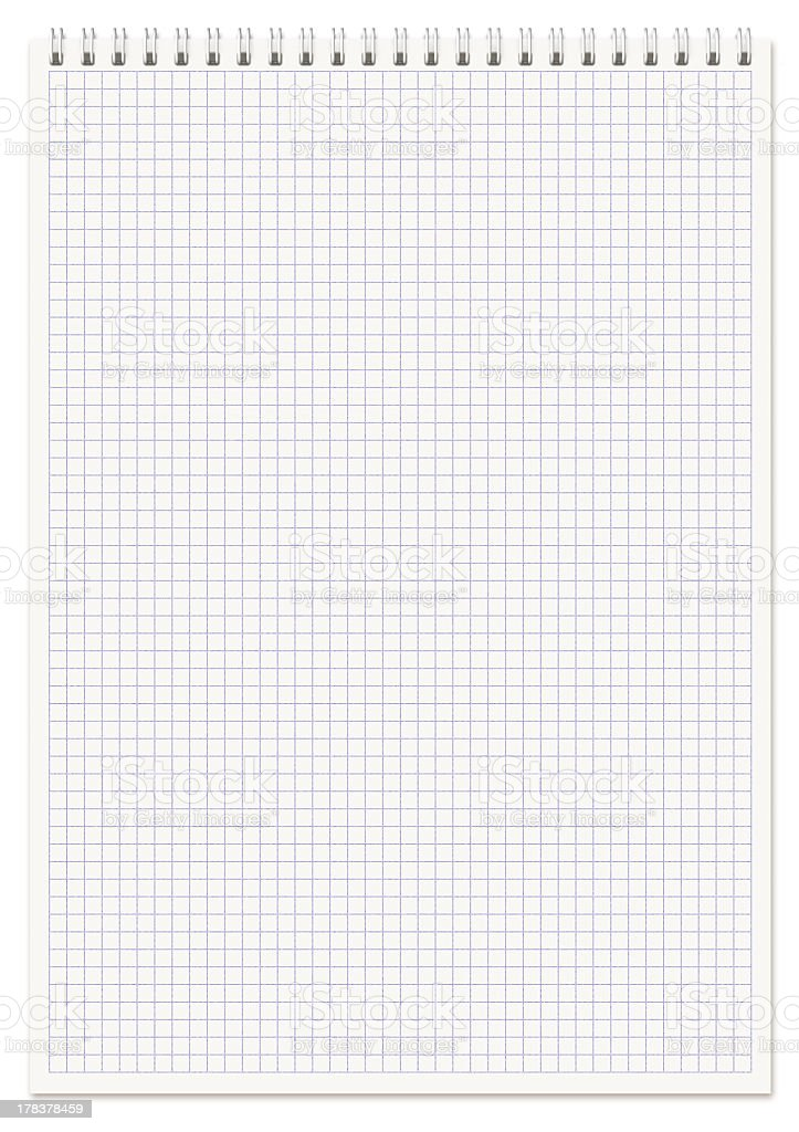 Gridded spiraled notebook paper stock photo