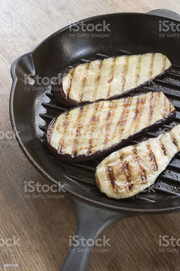 Griddle pan aubergines royalty-free stock photo