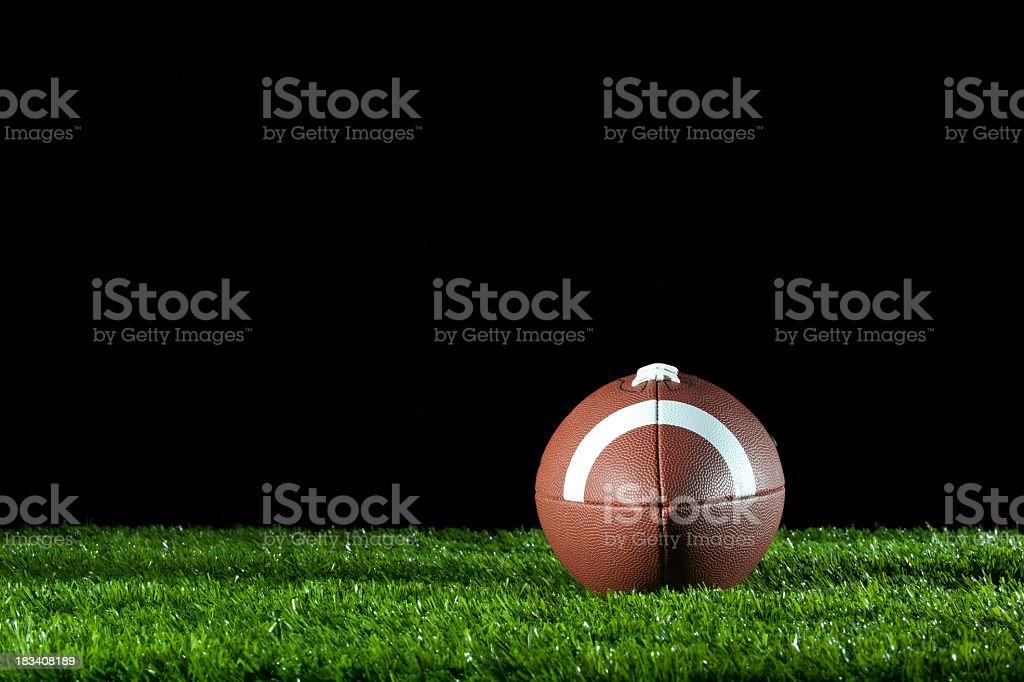 Gridiron ball on the grass at night. stock photo
