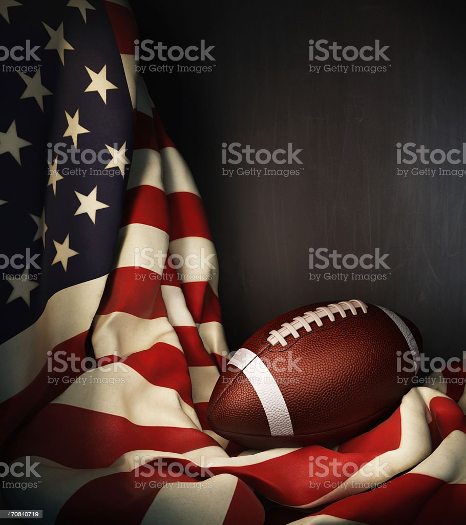A gridiron ball with the USA flag stock photo