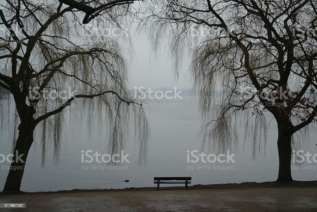 Grief in Loneliness - A lonesome bench stock photo