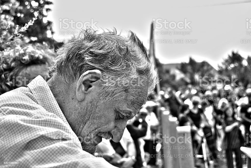 Grieving old man stock photo