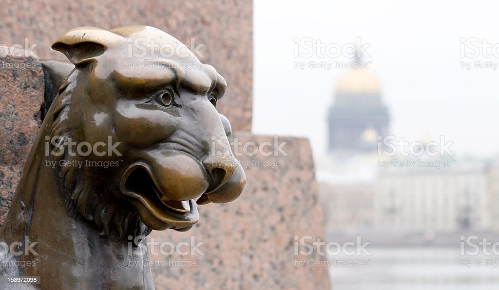 Griffin - bronze winged lion sculpture stock photo