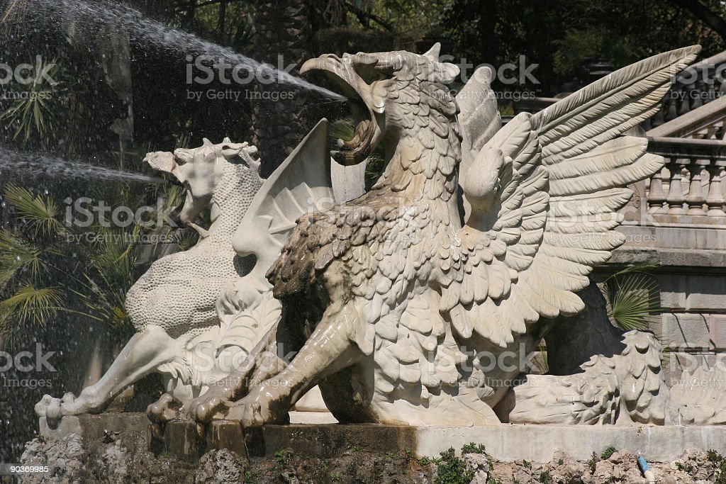 Griffin fountain royalty-free stock photo