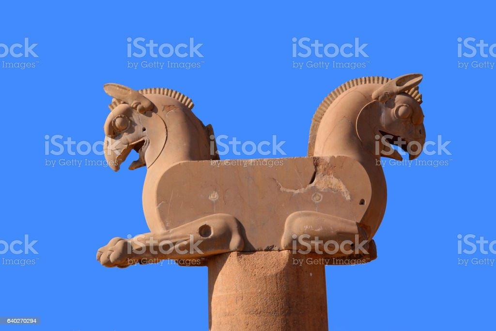Griffin topped column, Persepolis, Iran stock photo