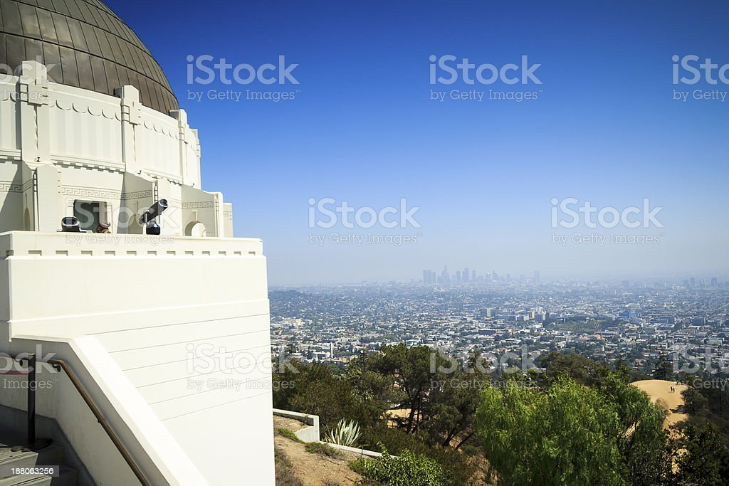 Griffith Observatory and downtown LA stock photo