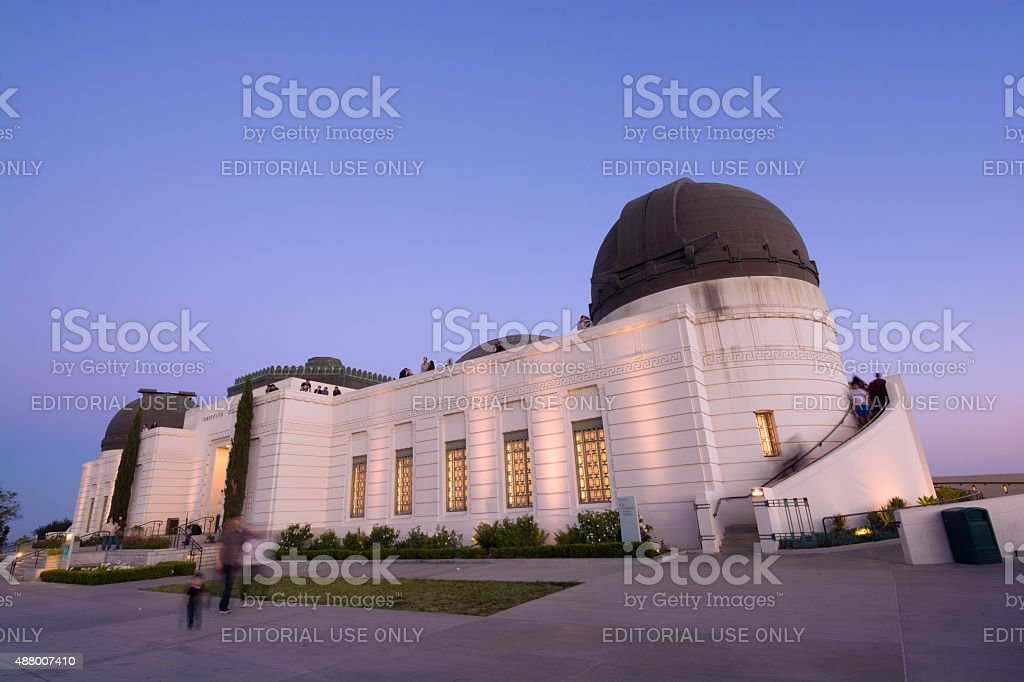 Griffith Observatory in Los Angeles, CA at night stock photo