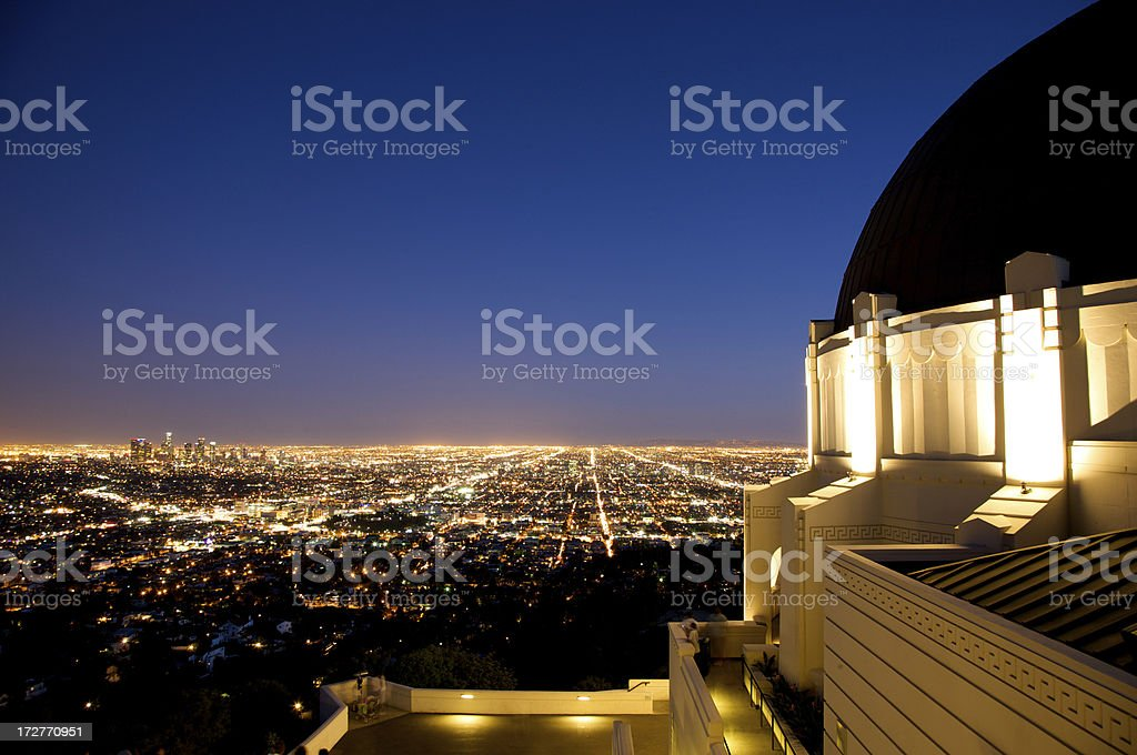 Griffith observatory in twilight stock photo