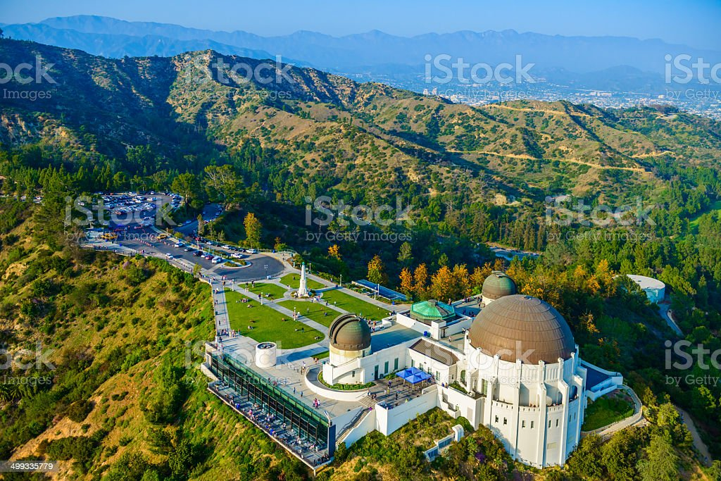 Griffith Observatory, Mount Hollywood, Los Angeles, CA - aerial view stock photo