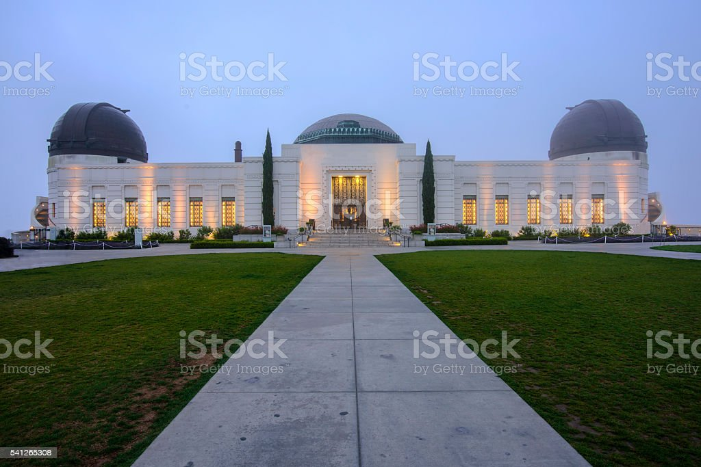 Griffith Park Observatory at dawn stock photo
