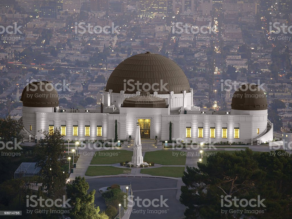 Griffith Park Observatory with city of Los Angeles behind stock photo