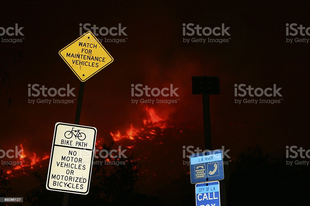 Griffith Park on fire royalty-free stock photo