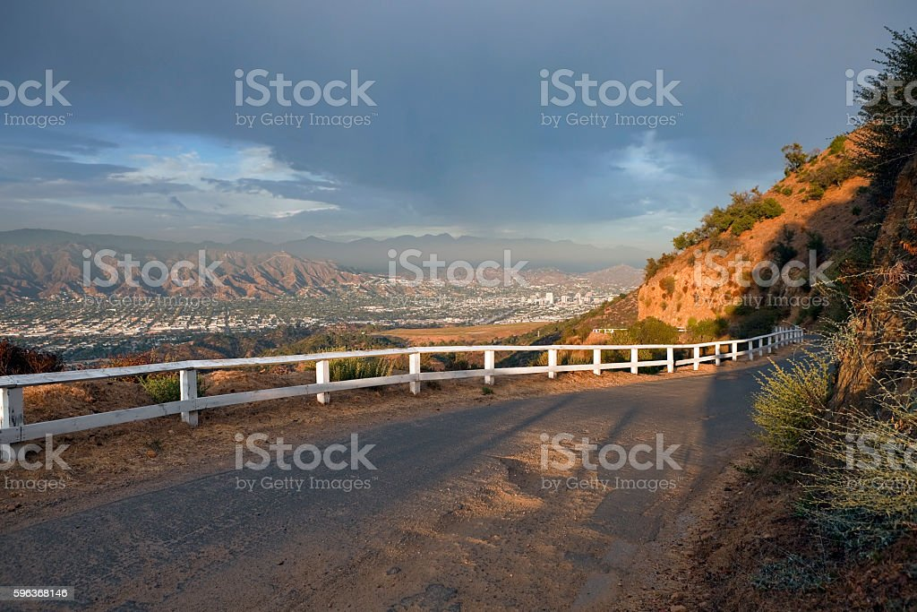Griffith Park road above Burbank and Glendale California stock photo
