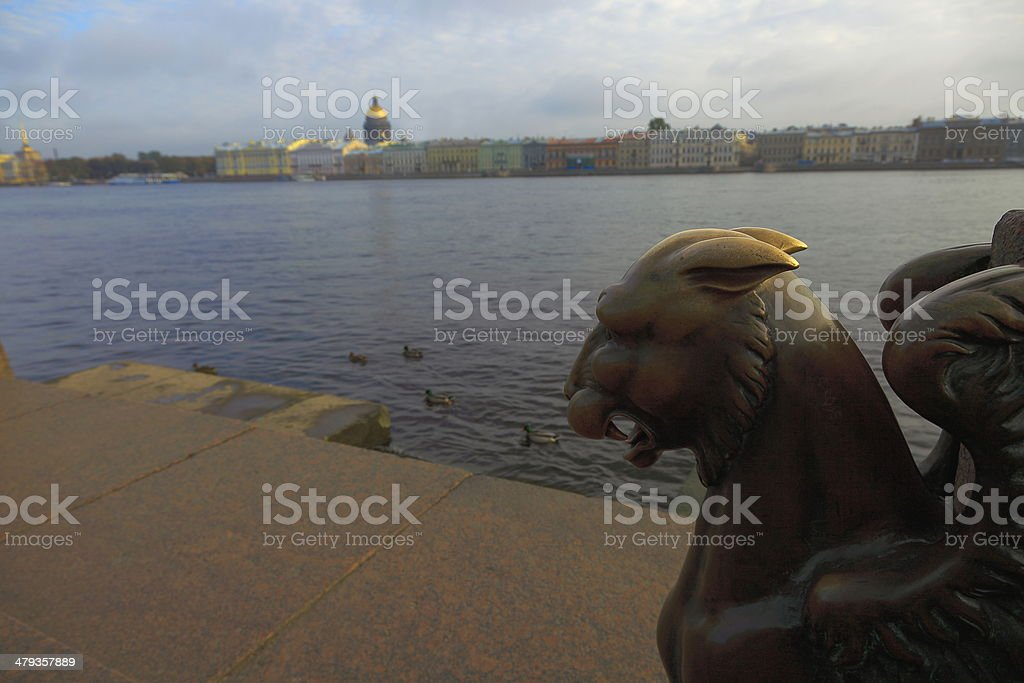Griffon's head, Neva River and St. Petersburg skyline, Russia stock photo
