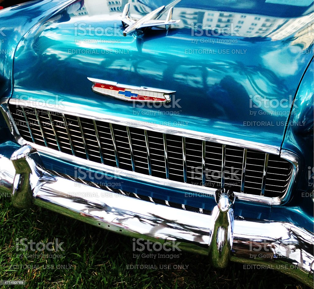 Grill and hood ornament of 1955 Chevy Belair royalty-free stock photo