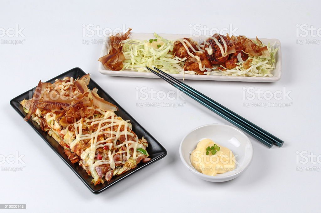 Grill flour wrap squid served with Japan pizza stock photo