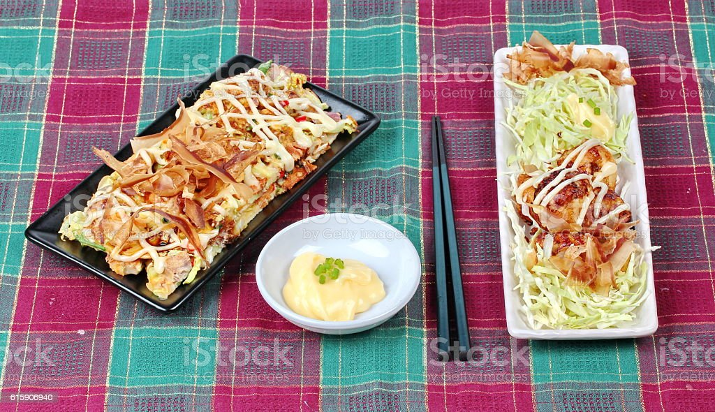 Grill flour wrap squid,Japan pizza . stock photo