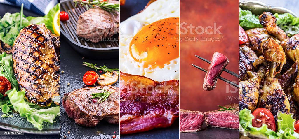 Grill Food. Grill meat - chicken, beef and  bacon. stock photo