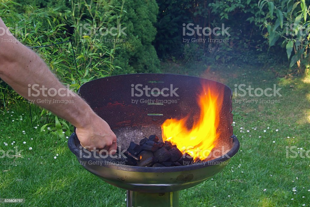 grill inflaming stock photo